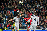 Diego Lopez block the ball in a corner kick