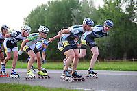 INLINE-SKATEN: STEENWIJK: Gagelsweg (start/finish), Schansweg, Meppelerweg, KPN Inline Cup, Klim van Steenwijk, 02-05-2012, Bart Mol (#46), Wim Dillen (#101), Arjan Smit (#50), Gerard Haasjes (#80), ©foto Martin de Jong