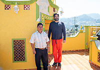 Luis and Javier at Javier Luna Hernandez's soon to be restaurant in San Juan Chamula. Arquitectura Libre / Free Architecture, Chiapas, Mexico