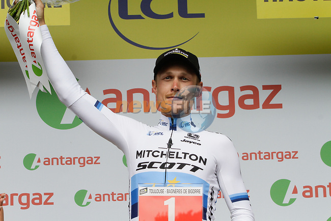 European Champion Matteo Trentin (ITA) Mitchelton-Scott wins the days combativity prize at the end of Stage 12 of the 2019 Tour de France running 209.5km from Toulouse to Bagneres-de-Bigorre, France. 18th July 2019.<br /> Picture: ASO/Colin Flockton | Cyclefile<br /> All photos usage must carry mandatory copyright credit (© Cyclefile | Colin Flockton)