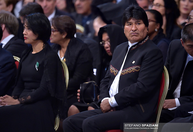 Bolivian President Evo Morales.Pope Francis leads a consistory for the creation of five new cardinals  at St Peter's basilica in Vatican on  June 28, 2018