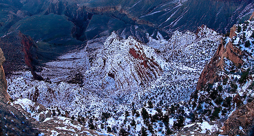 A fresh snow has fallen into the Grand Canyon at Grand Canyon National Park, Arizona