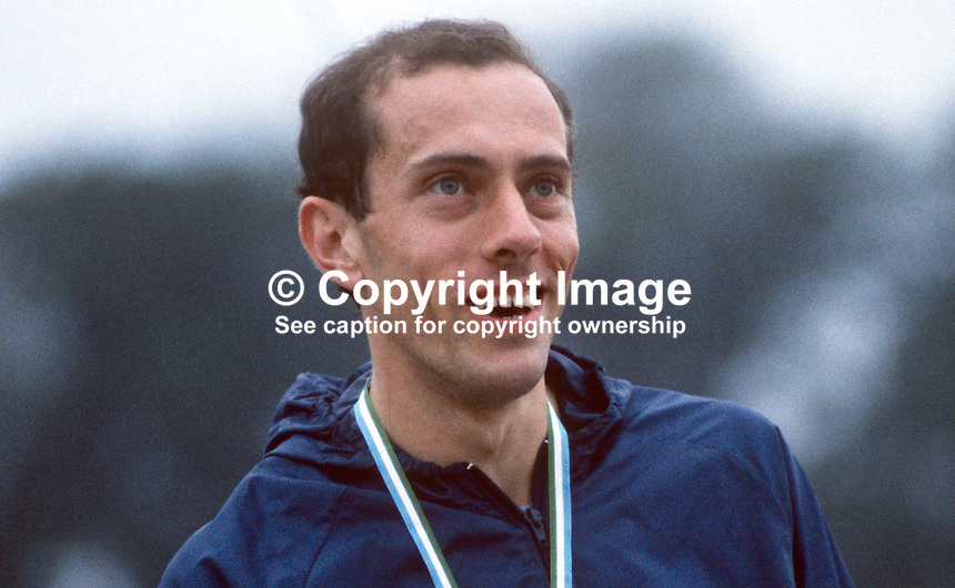 Steve Ovett, UK & England, middle distance runner, winner, 800 metres, Dale Farm Ulster Games, Mary Peters Track, Belfast, N Ireland, 19840081SO2..Copyright Image from Victor Patterson, 54 Dorchester Park, Belfast, UK, BT9 6RJ..Tel: +44 28 9066 1296.Mob: +44 7802 353836.Voicemail +44 20 8816 7153.Skype: victorpattersonbelfast.Email: victorpatterson@me.com.Email: victorpatterson@ireland.com (back-up)..IMPORTANT: If you wish to use this image or any other of my images please go to www.victorpatterson.com and click on the Terms & Conditions. Then contact me by email or phone with the reference number(s) of the image(s) concerned.