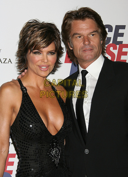 LISA RINNA & HARRY HAMLIN.15th Annual Race To Erase MS held at the Hyatt Regency Plaza Hotel, Century City, California, USA..May 2nd, 2008.half length dress suit jacket black low cut plunging neckline cleavage married husband wife .CAP/ADM/RE.©Russ Elliot/AdMedia/Capital Pictures.