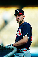 John Smoltz of the Atlanta Braves during a game at Dodger Stadium in Los Angeles, California during the 1997 season.(Larry Goren/Four Seam Images)