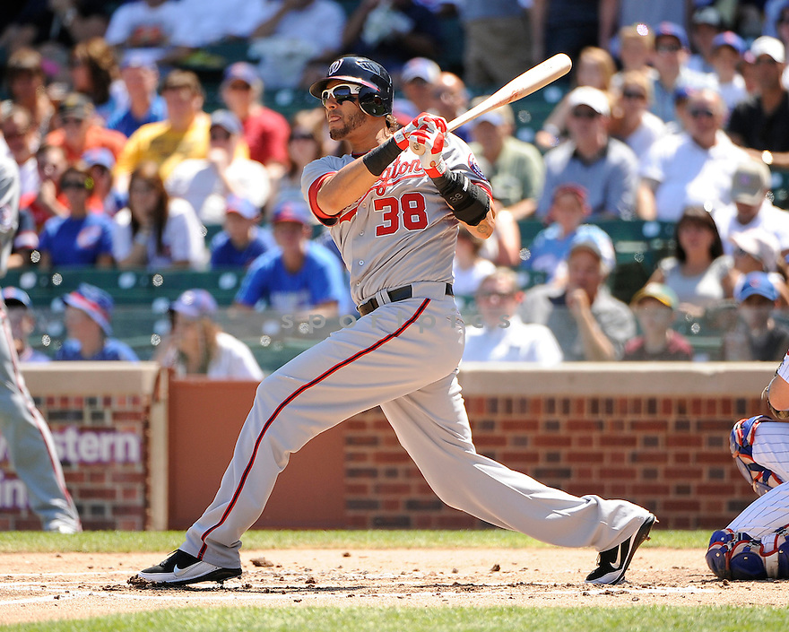 MICHAEL MORSE, of the Washington Nationals in action during the Nationals game against the Chicago Cubs on August 11, 2011 at Wrigley Field in Chicago, Illinois. The Cubs beat the Nationals 4-3.