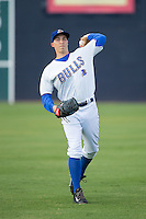 Durham Bulls starting pitcher Blake Snell (37) warms up in the outfield prior to the game against the Indianapolis Indians at Durham Bulls Athletic Park on August 4, 2015 in Durham, North Carolina.  The Indians defeated the Bulls 5-1.  (Brian Westerholt/Four Seam Images)