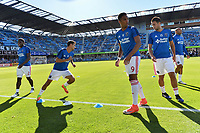 San Jose, CA - Saturday June 17, 2017: Chris Wondolowski, Danny Hoesen, Andres Imperiale prior to a Major League Soccer (MLS) match between the San Jose Earthquakes and the Sporting Kansas City at Avaya Stadium.
