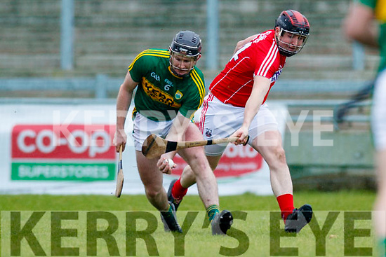 Bryan Murphy Kerry  in action against Ian Cahill Cork in the Co-op Superstores Munster Senior Hurling League on Sunday 14th January in Austin Stack Park, Tralee.
