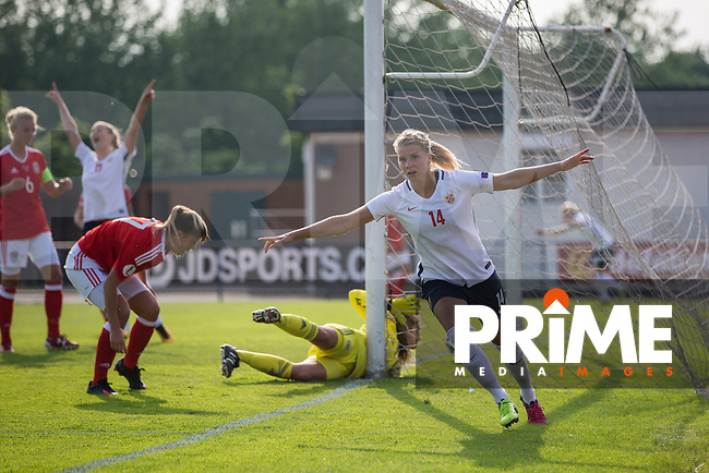 Ada Hegerberg of Norway celebrates scoring her side's first goal during the UEFA Women's Euro 2017 Qualifier match between Wales Women and Norway Women at Newport Stadium, Spytty Park, Wales on 7 June 2016. Photo by Mark  Hawkins / PRiME Media Images.