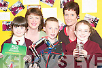 Science Award: Pupils of Scoil Noamh Brid, Duagh, with teachers Mary Nolan and Bernie Sheehy and students.Niamh Nolan, (Junior Infants), Thomas Scanlon, (5th class) and Michelle Walsh, (Junior Infants) with some of their.projects, which helped the school achieve a Primary School Science Award last week.