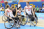 November 18 2011 - Guadalajara, Mexico:   Robert Hedges and Chad Jassman of Team Canada defend in the CODE Alcalde Sports Complex at the 2011 Parapan American Games in Guadalajara, Mexico.  Photos: Matthew Murnaghan/Canadian Paralympic Committee