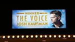 "Theatre Marquee unveiling for  ""Home For The Holidays"" starring Josh Kaufman, winner of ""The Voice"" Season 6, at August Wilson Theatre Theatre on November 3, 2017 in New York City."