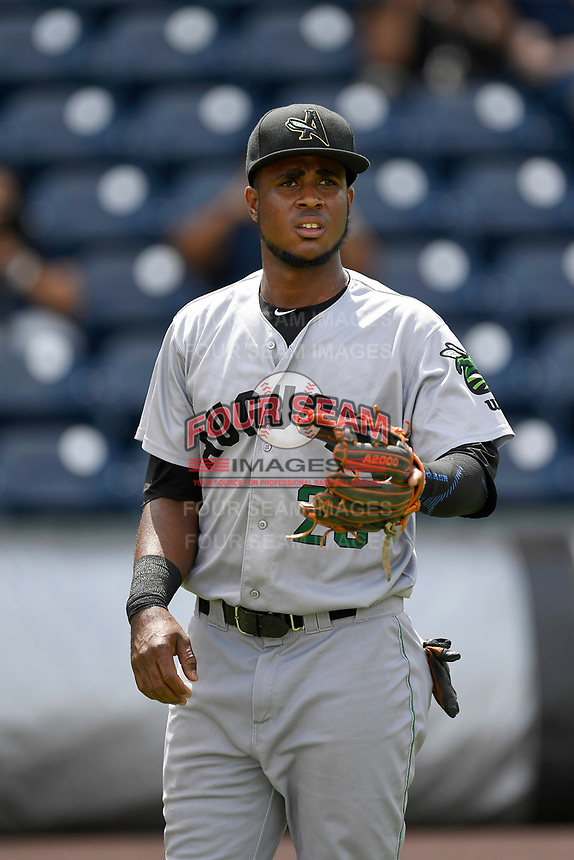 Designated hitter Manuel Geraldo (26) of the Augusta GreenJackets warms up before a game against the Greenville Drive on Thursday, May 17, 2018, at Fluor Field at the West End in Greenville, South Carolina. Augusta won, 2-1. (Tom Priddy/Four Seam Images)