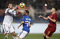 Calcio, Serie A: AS Roma - Sampdoria, Roma, stadio Olimpico, 28 gennaio 2018.<br /> Sampdoria's goalkeeper Emiliano Viviano (l) in action with Sampdoria's Bartosz Bereszynski (c) and Roma's Stephan El Shaarawy (r) during the Italian Serie A football match between AS Roma and Sampdoria at Rome's Olympic stadium, January 28, 2018.<br /> UPDATE IMAGES PRESS/Isabella Bonotto