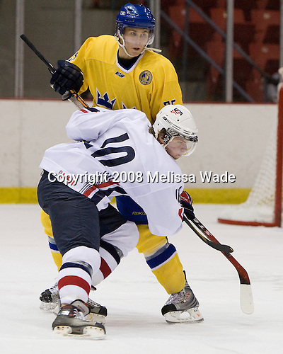 Colin Long (US White - 10), David Ullstrom (Sweden 25) - Team Sweden defeated Team USA White 7-3 on Friday, August 8, 2008, in the 1980 Rink during the 2008 US National Junior Evaluation Camp and Summer Hockey Challenge in Lake Placid, New York.