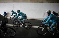 Borut Bozic (SLO/Astana) &amp; teammates through the Turchino Tunnel<br /> <br /> 106th Milano - San Remo 2015