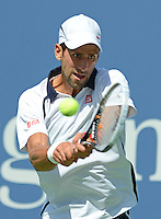 FLUSHING NY- SEPTEMBER 9: Novak Djokovic Vs David Ferrer in the mens semi finals on Arthur Ashe Stadium at the USTA Billie Jean King National Tennis Center on September 9, 2012 in in Flushing Queens. Credit: mpi04/MediaPunch Inc. ***NO NY NEWSPAPERS*** /NortePhoto.com<br />