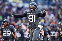 Baltimore, MD - DEC 10, 2016: Army Black Knights wide receiver Jeff Ejekam (81) gets the crowd hype going into halftime with a slight lead over Navy during during game at M&T Bank Stadium, Baltimore, MD. (Photo by Phil Peters/Media Images International)