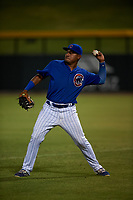 AZL Cubs 1 first baseman Ervis Marchan (21) throws to the infield during an Arizona League game against the AZL Angels on June 24, 2019 at Sloan Park in Mesa, Arizona. AZL Cubs 1 defeated the AZL Angels 12-0. (Zachary Lucy / Four Seam Images)