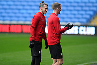 Gareth Bale (left) speaks to Andy King (right) of Wales during the Wales Training Session at the Cardiff City Stadium in Cardiff, Wales, UK. Thursday 15 November 2018