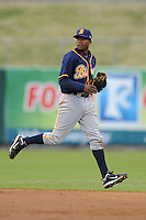 Montgomery Biscuits Tim Beckham #22 attempts to make a play during a game against  the Tennessee Smokies at Smokies Park in Kodak,  Tennessee;  April 13, 2011.  Tennessee defeated Montgomery 12-2.  Photo By Tony Farlow/Four Seam Images