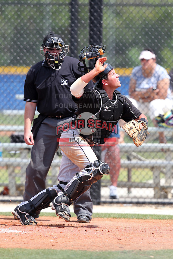 Toronto Blue Jays minor league catcher Sean Ochinko during a game vs the New York Yankees at the Englebert Minor League Complex in Dunedin, Florida;  March 21, 2011.  Photo By Mike Janes/Four Seam Images