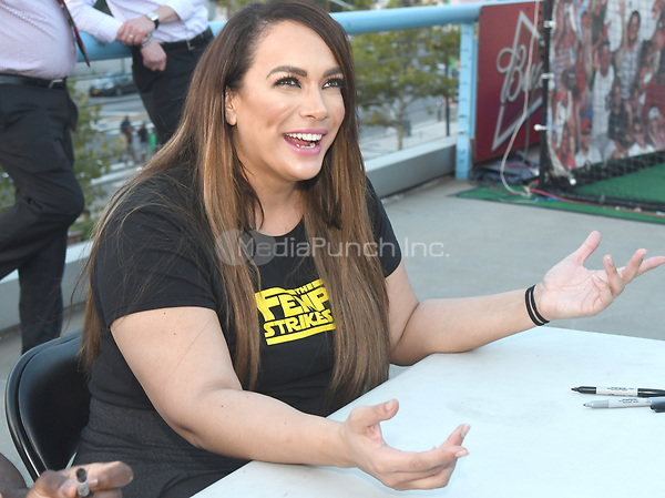 Brooklyn, NY - AUGUST 17: WWE Superstar Nia Jax visits MCU Park in Brooklyn, New York on August 17, 2017 during Summer Slam Week. Photo Credit: George Napolitano/MediaPunch