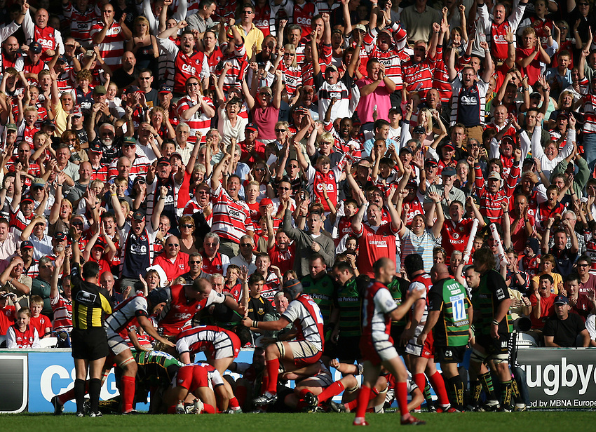 Photo: Rich Eaton...Gloucester Rugby v Northampton Saints. Guinness Premiership. 23/09/2006. Gloucester fans celebrate Andy Hazell  scoring the second try of the match for Gloucester.
