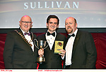 16-6-2019:  Séimi Campbell- Jesus Christ Superstar- Donegal Youth Musical Theatre, Letterkenny,  winner of the Best Director award at the annual AIMS (Association of Irish Musical Societies) in the INEC Killarney at the weekend receiving the trophy from Seamus Power, President, AIMS left and Rob Donnelly, Vice-President.<br /> Photo: Don MacMonagle - macmonagle.com<br /> <br /> repro free photo from AIMS<br /> <br /> AIMS PRESS RELEASE: There was plenty of glitz and glamour in Killarney on Saturday night as The Association of Irish Musical Societies has its Annual Awards Ceremony in Killarney. Over 1,500 people could be heard over the Kerry mountains as the winners were announced by MC Fergal D'Arcy. Many societies were double winners on the night including UCD Musical Society, Dublin were dancing all the way to the trophies winning Best Choreography and Best Choreographer for Leah Meagher for Cabaret and  Tullamore Musical Society who took their moment as Chris Corroon won Best Male Singer for his sinful performance as Henry Jekyll in Jekyll &Hyde and also Director Paul Norton who'd plenty to celebrate picking Best Director for  the same show. The moment was once again taken by Jekyll&Hyde by Dùn Laoighaire Musical&Dramatic Society as Kevin Hartnett took up Best Male Singer in the Sullivan category.Nenagh Youth Musical Society raised their voices high and took home Best Ensemble. It was a superior night for Enniscorthy Musical Society by winning Best Comedienne for Jennifer Byrne as Mother Superior and Best Technical too. Portlaoise Musical Society rose to the top by taking home Best Overall Show in the Gilbert section for their stunning production of Titanic. Oyster Lane Theatre Group, Wexford flew their flag high taking home Best Overall Show in the Sullivan Section for their breathtaking production of Michael Collins-a Musical Drama.<br /> Other winners on the night included Best Comedian for Ronan Walsh as Officer Lockstock in Urinetown for Trim Musical Society, Best Actress in a Supporting