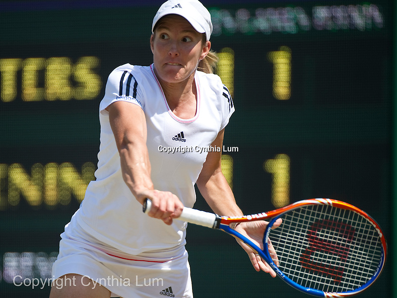 June 27, 2010.Justine Henin of Belguim, in action during her 2-6, 6-2, 6-3 loss to Kim Clijsters of Belgium in the fourth round,at The Championships, Wimbledon , played at the All England Lawn Tennis Club, London, England