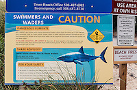 Shark warning and beach advisory, Truro, Cape Cod, Massachusetts, USA