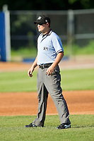 Umpire Ryan Simmons handles the calls on the bases during the New York-Penn League game between the Lowell Spinners and the Hudson Valley Renegades at Dutchess Stadium on August 12, 2012 in Wappingers Falls, New York.  (Brian Westerholt/Four Seam Images)
