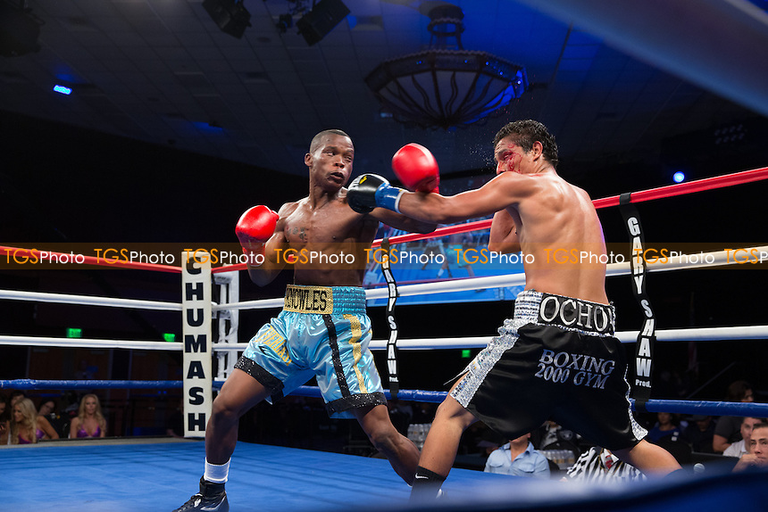 Valentino Knowles defeats Alejandro Ochoa in a Central Coast Championship Night boxing contest at the Chumash Casino Resort promoted by Gary Shaw Productions - 25/01/13 - MANDATORY CREDIT: Dwight MCCann/TGSPHOTO - Self billing applies where appropriate - 0845 094 6026 - contact@tgsphoto.co.uk - NO UNPAID USE.