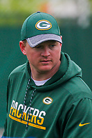 Green Bay Packers wide receivers coach Luke Getsy during an Organized Team Activity on May 23, 2017 at Clarke Hinkle Field in Green Bay, Wisconsin.  (Brad Krause/Krause Sports Photography)