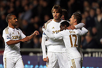 Sunday, 28 November 2012<br /> Pictured: (L-R) Wayne Routledge, Michu, Pablo Hernandez and Nathan Dyer.<br /> Re: Barclays Premier League, Swansea City FC v West Bromwich Albion at the Liberty Stadium, south Wales.