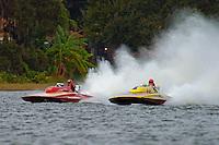 """Dave Richardson, GP-200 """"Lauterbach Special"""", (1976 Grand Prix class Lauterbach hydroplane) and Bill Pearson, GP-444 """"Edelweiss""""  (2008 Lauterbach built replica of a Grand Prix hydroplane)"""