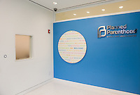 The new Diane Max Health Center of Planned Parenthood in Long Island City designed by architect Stephen Yablon. <br /> <br /> The building entrance has a window where patients can pick up basic necessities without going into the waiting area through security. <br /> <br /> <br /> Danny Ghitis for The New York Times