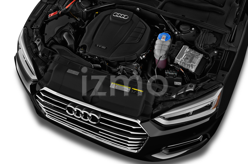 Car stock 2018 Audi A5 Cabriolet Premium Plus 2 Door Convertible engine high angle detail view