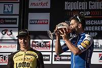 Winners beer for Fernando Gaviria (COL/Quick Step Floors) <br /> <br /> 102nd Kampioenschap van Vlaanderen 2017 (UCI 1.1)<br /> Koolskamp - Koolskamp (192km)