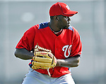 20 February 2011: Washington Nationals' pitcher Shairon Martis takes some fielding practice during Spring Training at the Carl Barger Baseball Complex in Viera, Florida. Mandatory Credit: Ed Wolfstein Photo
