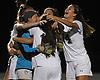Selena Fortich #14, right, and her North Shore teammates celebrate after their 4-2 win over Manhasset in the Nassau County varsity girls soccer Class A final at Cold Spring Harbor High School on Friday, Nov. 3, 2017.
