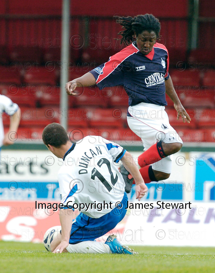 05/05/2007       Copyright Pic: James Stewart.File Name : sct_jspa03_falkirk_v_inverness.RUSSELL DUNCAN CHALLENGES RUSSELL LATAPY....James Stewart Photo Agency 19 Carronlea Drive, Falkirk. FK2 8DN      Vat Reg No. 607 6932 25.Office     : +44 (0)1324 570906     .Mobile   : +44 (0)7721 416997.Fax         : +44 (0)1324 570906.E-mail  :  jim@jspa.co.uk.If you require further information then contact Jim Stewart on any of the numbers above.........