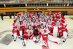 ADRIAN, MI - MARCH 18: The Plattsburgh State team pose for photos with the National Championship trophy after winning the Division III Women's Ice Hockey Championship held at Arrington Ice Arena on March 19, 2017 in Adrian, Michigan. Plattsburgh State defeated Adrian 4-3 in overtime to repeat as national champions for the fourth consecutive year. by Tony Ding/NCAA Photos via Getty Images)