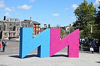 Norwich & Norfolk Festival sign outside The Forum, Norwich UK May 2019