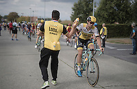 Tom Van Asbroeck (BEL/LottoNL-Jumbo) in the feed zone being handed a bidon<br /> <br /> 101st Kampioenschap van Vlaanderen 2016 (UCI 1.1)<br /> Koolskamp &rsaquo; Koolskamp (192.4km)
