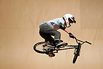 Simon Tabron competes in the BMX Freestyle Vert finals during X-Games 12 in Los Angeles, California on August 4, 2006.