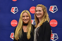 New York, NY - Thursday February 02, 2017: Kristie Mewis, Samantha Mewis during a joint NWSL and A+E Networks press conference at the A+E headquarters.