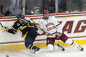 Hampus Gustafsson (Merrimack - 20), Steve Santini (BC - 6) - The Boston College Eagles defeated the visiting Merrimack College Warriors 2-1 on Wednesday, January 21, 2015, at Kelley Rink in Conte Forum in Chestnut Hill, Massachusetts.