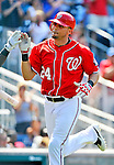 10 July 2011: Washington Nationals outfielder Rick Ankiel rounds the bases after hitting a solo home run against the Colorado Rockies at Nationals Park in Washington, District of Columbia. The Nationals shut out the visiting Rockies 2-0 salvaging the last game their 3-game series at home prior to the All-Star break. Mandatory Credit: Ed Wolfstein Photo